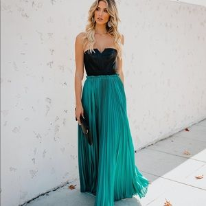 Strapless faux leather/teal dress